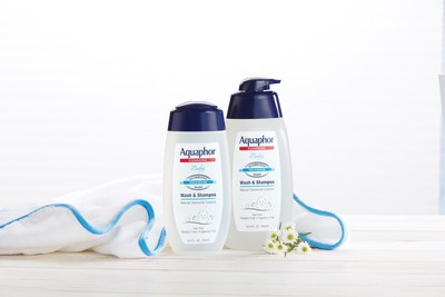 New Aquaphor Baby Wash & Shampoo packaging features a convenient pump for ease of use in the tub, and a translucent bottle design that showcases what is not in the product - dyes, fragrances and parabens.