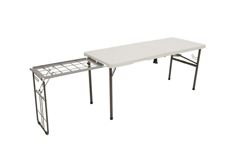 The Lifetime Folding Tailgate Table conveniently combines serving and grilling table space needs into one ...