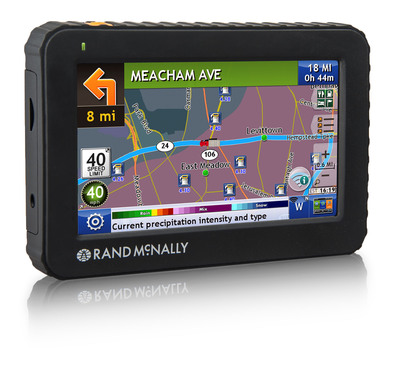 "Rand McNally Introduces its Next Generation 5"" Truck GPS Device:  IntelliRoute(R) TND(TM) 520 is Wi-Fi(R) enabled for real-time features.  The TND(TM) 520, which includes a new ruggedized case, Lifetime Maps, and a host of new features, will be available for sale starting in May. The new 5-inch device includes Wi-Fi(R) connectivity* that enables a number of new real-time data services, most of which will be standard on the device without any subscription fee.  (PRNewsFoto/Rand McNally)"