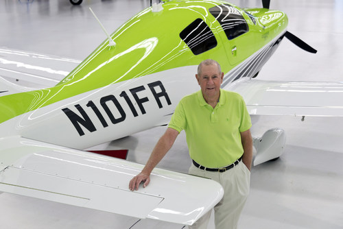 "Field Morey and his 2013 Cessna Corvalis TTx ""The Green Hornet"" - the airplane to be used in the Capital Air Tour (PRNewsFoto/Capital Air Tour)"