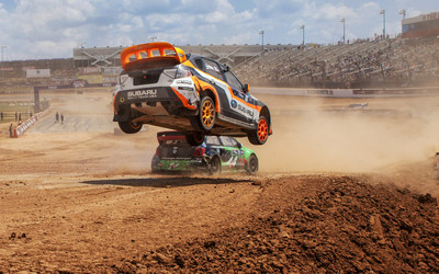 Bucky Lasek flies high at Red Bull GRC Charlotte. He would climb to 6th from last place in the Final. (PRNewsFoto/Subaru of America, Inc.)