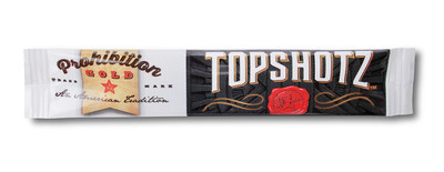 Prohibition Gold's Topshotz single 10mg dose stick packs are similar in size and shape to Starbucks VIA(R) Instant Coffee.