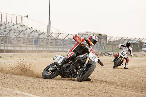 A Harley-Davidson Street(TM) 750 prototype race motorcycle - ridden by AMA Pro Flat Track Grand National ...