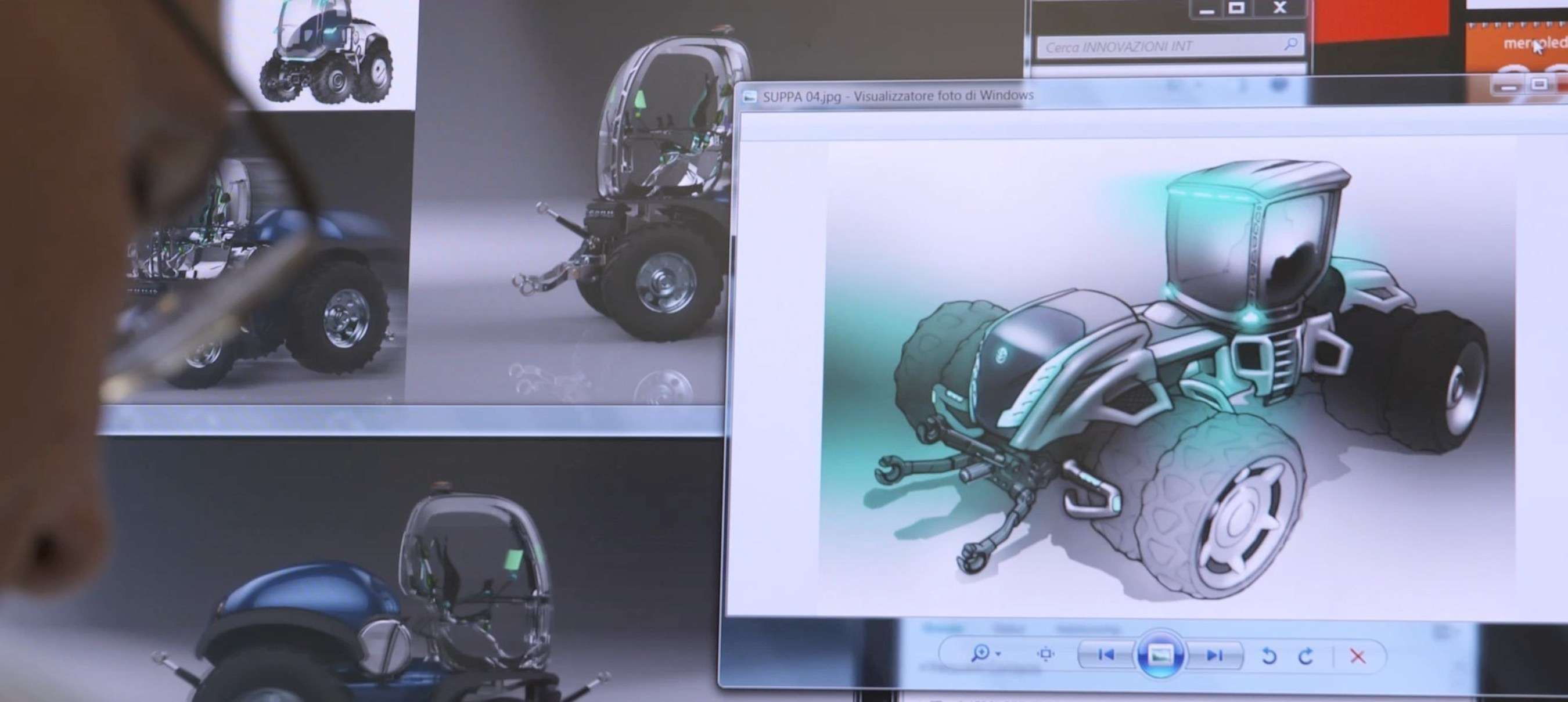 Digital artwork of conceptual tractors, image courtesy of the CNH Industrial Design Center