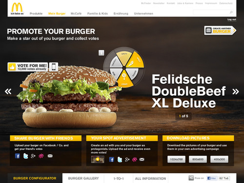 """Burger Contest 2012"": Promote Your Burger and Collect Votes.  (PRNewsFoto/McDonald's Germany)"