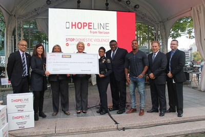 Leaders at Verizon's Rally For Hope in Detroit celebrate $100,000 in HopeLine grants to domestic violence organizations across Michigan.