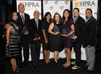 HPRA honors industry leaders at the 27th Annual PRemio Awards & Scholarship Gala. From left to right: HPRA-LA president, Lourdes Rodriguez (VPE Public Relations); Rafael Toro, Director of Public Relations for Goya Foods (Corporation Award); Hector Tobar, columnist with Los Angeles Times (Journalist Award); Delia Lopez, HPRA-LA vice president; Denisse Montalvan, Ketchum (Young PR Professional Award); Angela Sustaita-Ruiz and Manny Ruiz with Hispanicize and Hispanic PR Blog (PR Professional Award); and HPRA-LA Treasurer Mario Flores (Sportivo).  (PRNewsFoto/Hispanic Public Relations Association, Eddie Sakaki)