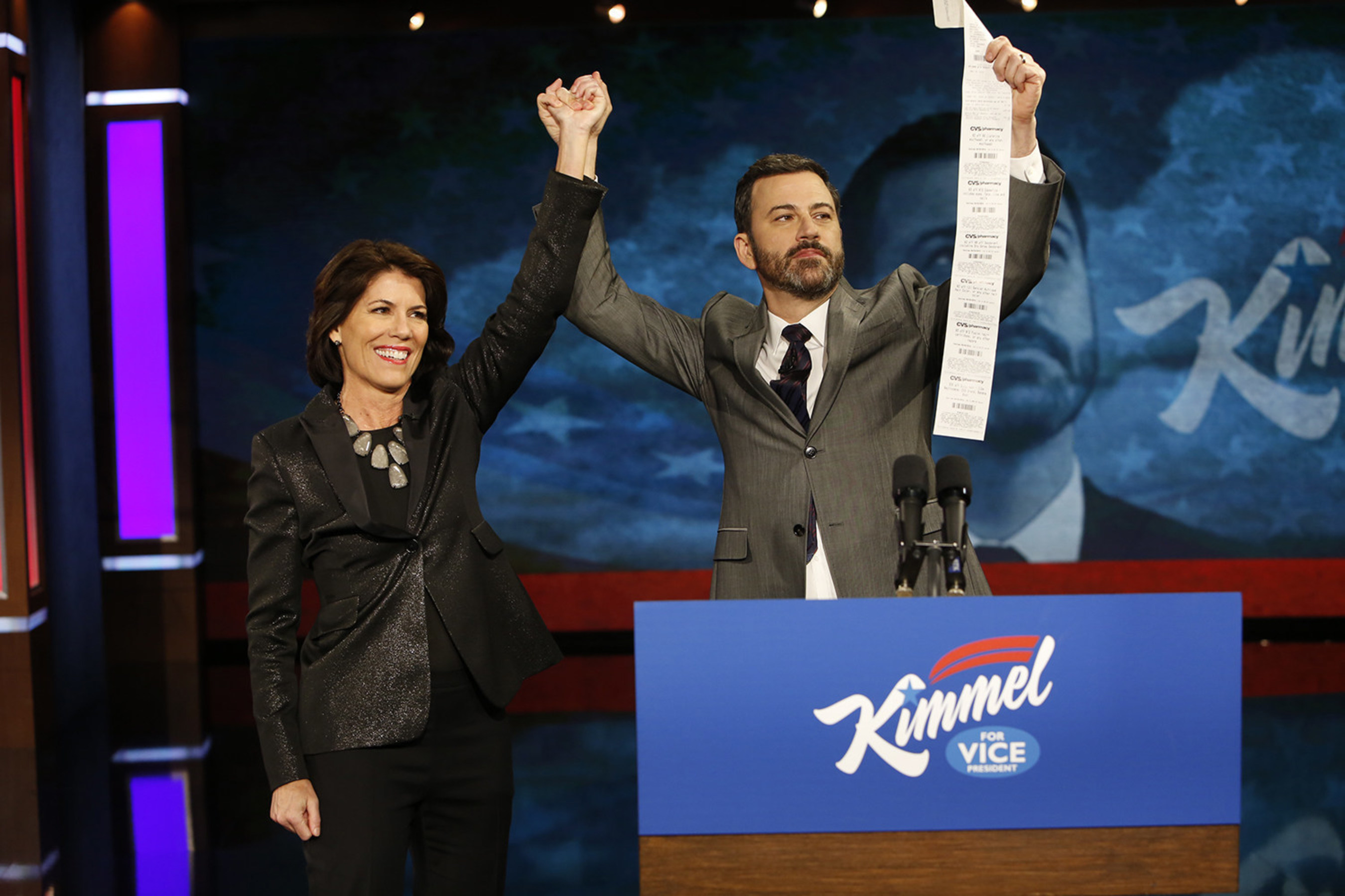 CVS Pharmacy President Helena Foulkes unveiled digital receipts in a surprise appearance on ABC's Jimmy Kimmel Live on Friday evening.