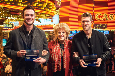Left to Right: Kris Bryant, Las Vegas Mayor Carolyn G. Goodman, and Bryce Harper with their Keys to the City of Las Vegas that they received on Dec. 17 at a special ceremony on the Fremont Street Experience.