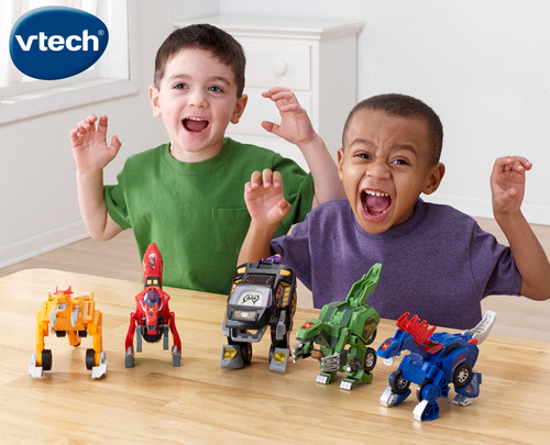 What do you get when you combine two of boys' favorite playthings, dinosaurs and vehicles, with a cool transformation feature and awesome sound effects? VTech's Switch & Go Dinos(R). The ultimate kid's toy, Switch & Go Dinos easily transform between a dinosaur and a vehicle in a few simple steps. Each of the collectible Switch & Go Dinos features high-quality electronics and a unique transformation feature to provide a 2-in-1 imaginative play experience. In dinosaur mode, sound effect buttons emit realistic dinosaur sounds and ...