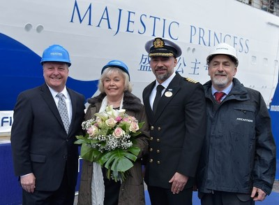 "(From left to right) Executive Vice President of Fleet Operations Keith Taylor, Graziella Sagani (Captain Sigani's mother), who served as the ship's ""madrina,"" Captain Dino Sagani, and Fincantieri Shipyard Director Mr. Attilio Dapelo at the float-out ceremony for Majestic Princess."