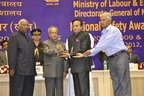 Mr. Narendrakumar A. Baldota, (third from left) Chairman & Managing Director, MSPL Limited and Mr. Basheer, Foreman, Vyasanakere Iron Ore Mine, Hospet are presented with National Safety Award (Mines) for 2010 by the Hon'ble President of India, Shri. Pranab Mukherjee at a function held in New Delhi.  The Union Minister for Labour & Employment Mr. Mallikarjun Kharge (extreme left) was also present on the occasion