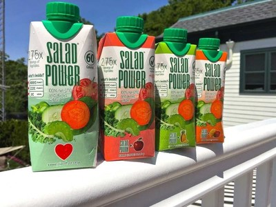 SaladPower(R) is a super-premium vegetable juice, with a mission to make the cleanest, healthiest vegetable and fruit juices as widely available as possible. SaladPower is jam-packed with 2.75 servings of vegetables. Every carton of 100 percent juice includes kale, carrot, spinach, tomato, celery, green bell pepper and cucumbers, with some varieties also containing fruit. SaladPower is available in four flavors: Just Veggies, +Mango, +Apple and +Pineapple.