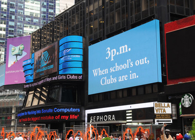 "Billboards during Boys & Girls Clubs of America's launch of the Great Futures Campaign to call attention to the critical role of out-of-school time for kids on Thursday, July 31, 2014 in Times Square, New York. BGCA took over Times Square to ""redefine the opportunity equation"" and garner support for after-school and summer programs that empower youth toward success.  (PRNewsFoto/Boys & Girls Clubs of America)"