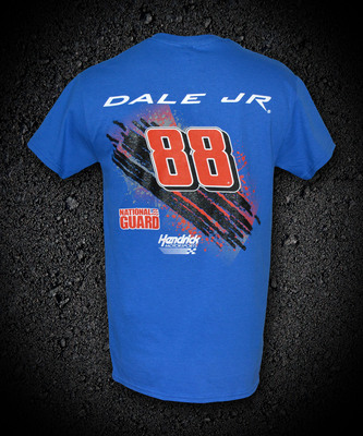 The Original Dale Earnhardt Jr. Burn Rubber tee shirt shown here in Royal Blue. Source: www.shopburnrubber.com.  (PRNewsFoto/Burn Rubber Productions, LLC)