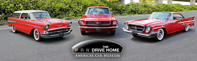 America's Car Museum and the North American International Auto Show Announce 'The Drive Home II: The Heritage Run'. Pictured are the three participating cars, a 1967 Chevrolet Nomad, a 1961 Chrysler 300G and a 1966 Ford Mustang.