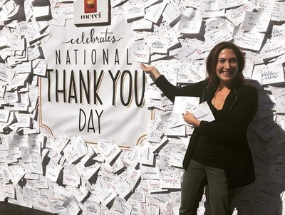 New York native, Randi Zuckerberg writes thank you note to sons, Asher and Simi to express gratitude on National Thank You Day with merci Chocolates.