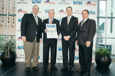 From left to right: Daniel McCarthy, NOAA Meteorologist in Charge; Tim Earnest, Executive Vice President of Mall Management for Simon Malls; Ken Brewer, WISH-TV Meteorologist and event emcee; and David Tucek, NOAA Warning Coordination Meteorologist.