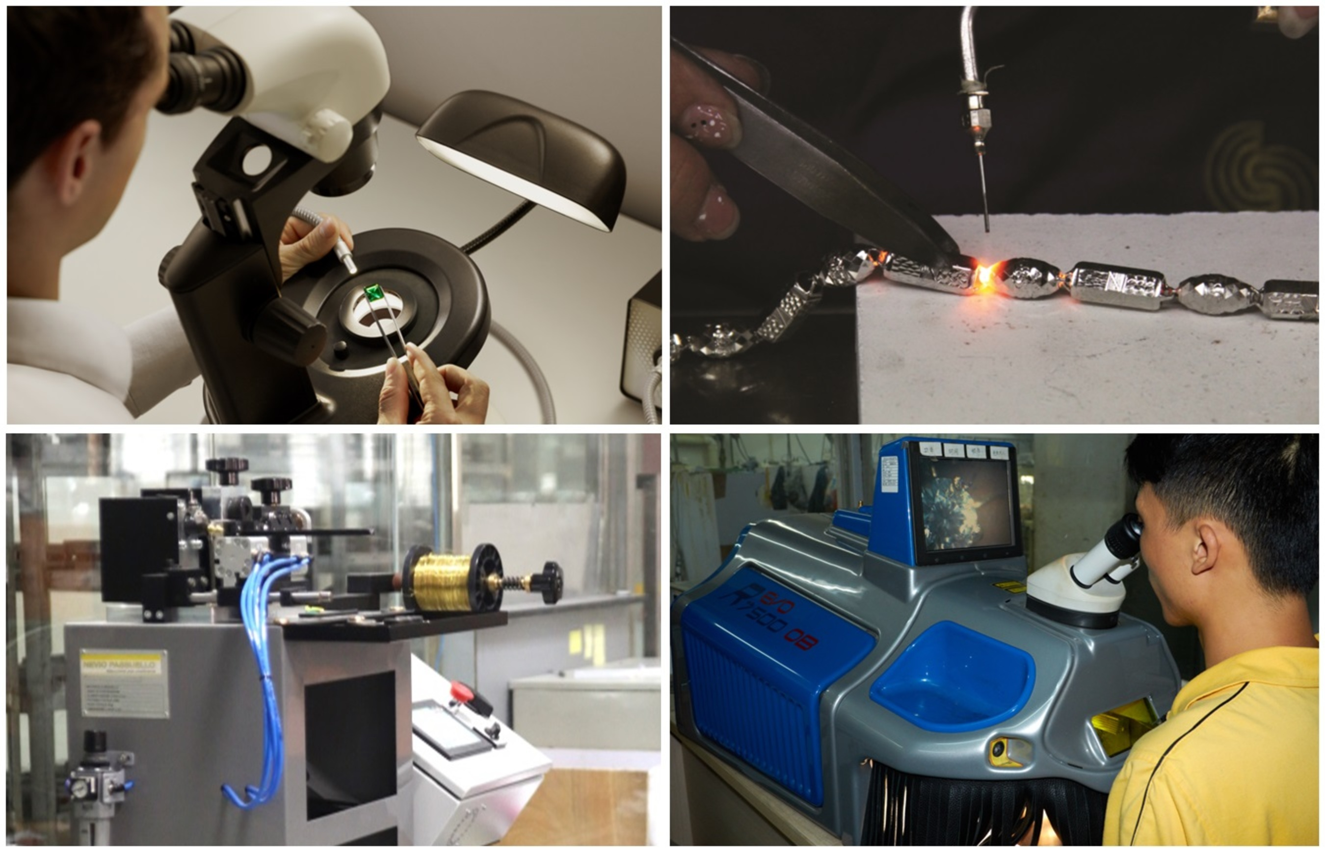 (From top left, clockwise) Gubelin Gem Lab gemmologist at work, weld-free technology for precious metal from Shenzhen Bofook Jewellery Co Ltd, jewellery polishing at Shenzhen Xingguangda Jewelry Industrial Co Ltd, and an advanced machinery at Shenzhen Ganlu Jewellery Co Ltd