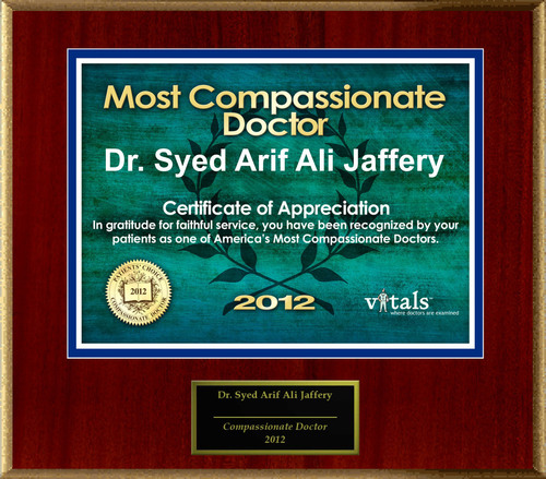 Patients Honor Dr. Syed Arif Ali Jaffery for Compassion.  (PRNewsFoto/American Registry)