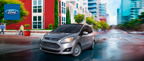 The extremely efficient 2014 Ford C-Max Hybrid is capable of traveling up to 45 mpg in the city. (PRNewsFoto/Matt Ford)