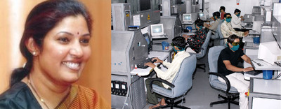 (Left) Photo of Dr. D Purandeswari, Minister for State of Industry & Commerce - Government of India. (Right) A diamond cutting factory in India, Kiran Gems, using diamond bruting equipment to raise productivity and quality.  (PRNewsFoto/UBM Asia Ltd)