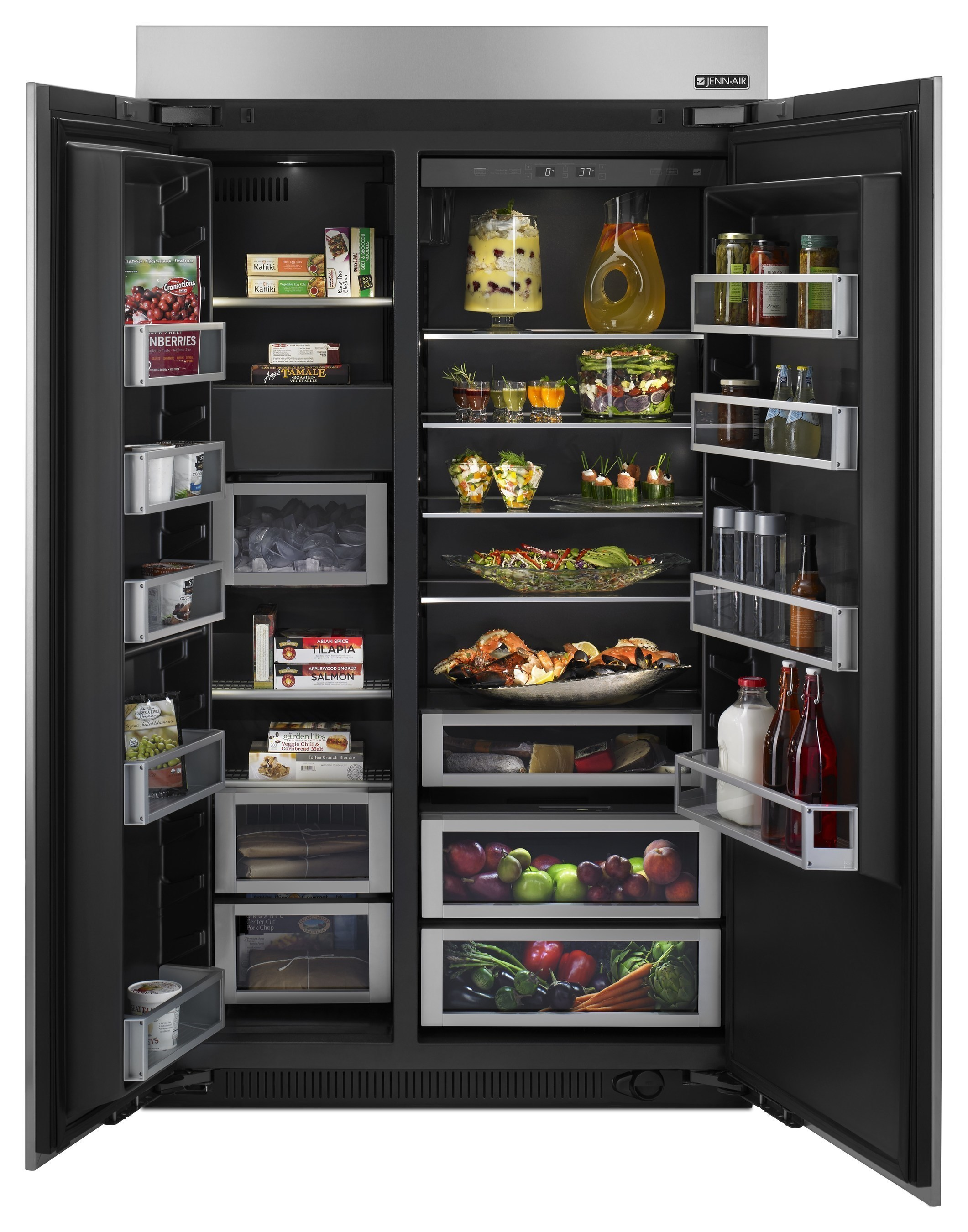 Jenn Air 48 Inch Slide In Side By Refrigerator With Obsidian Interior