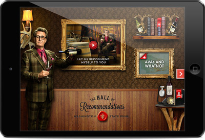 """Washington State Wine launched """"The Recommendeuer"""", a national marketing campaign with a free iPad app featuring stand-up comedian Greg Proops as a know-it-all wine expert offering an entertaining and in-depth wine education. (PRNewsFoto/Washington State Wine) (PRNewsFoto/WASHINGTON STATE WINE)"""