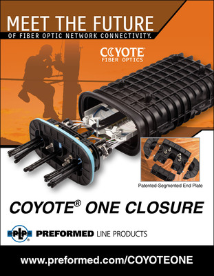 Preformed Line Products introduces the compact COYOTE(R) ONE Fiber Optic Closure, featuring the patented, segmented end plate. This device brings together many connectivity solutions in a compact and cost effective package.  (PRNewsFoto/Preformed Line Products Company)