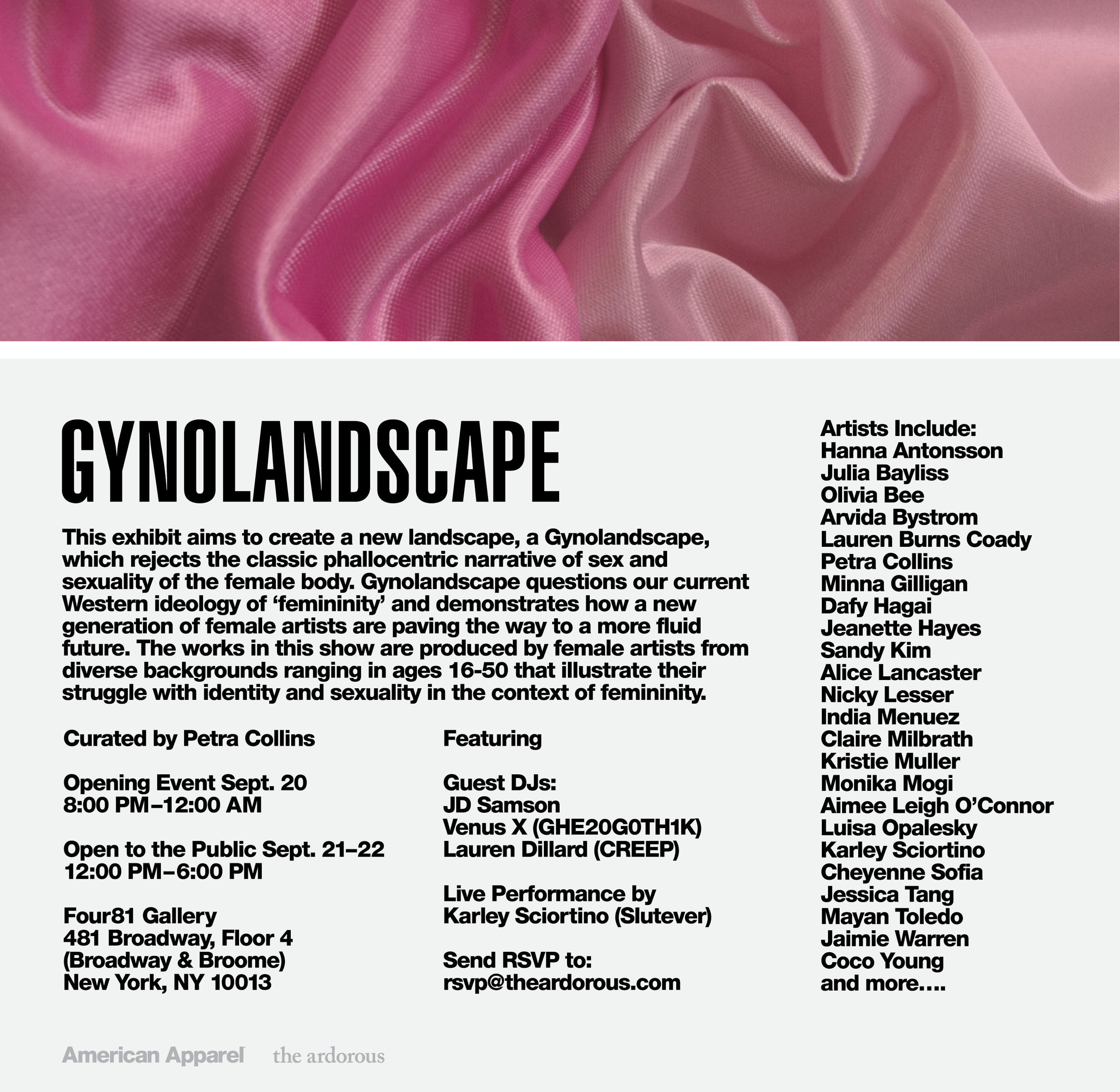 """American Apparel (Amex: APP), the vertically-integrated clothing manufacturer based in downtown Los Angeles, is pleased to announce its sponsorship of the new female-centric art exhibition, """"Gynolandscape."""" The all-girl show, curated by photographer--and longtime American Apparel employee--Petra Collins, will take place from September 20th to 23rd, at Four81 in SoHo, NYC. The exhibit, featuring a lineup of artists from The Ardorous, has been designed and cultivated by Petra Collins, a Toronto-born artist who has worked with Vogue Italia, Purple, Vice and Rookie, and is still a contributing photographer for American Apparel. (PRNewsFoto/American Apparel) (PRNewsFoto/AMERICAN APPAREL)"""