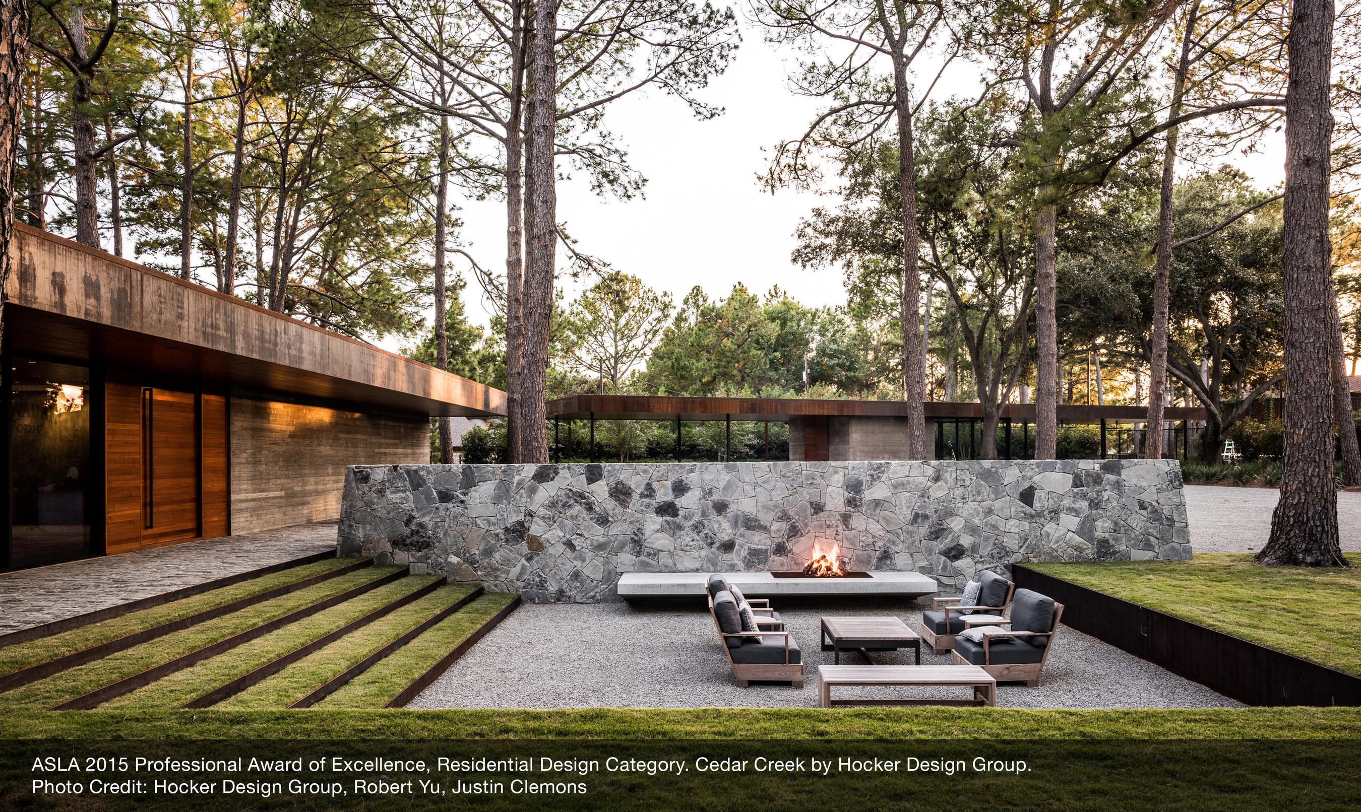 ASLA 2015 Professional Award of Excellence, Residential Design Category. Cedar Creek by Hocker Design Group. Photo Credit: Hocker Design Group, Robert Yu, Justin Clemons