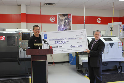 Neil McGill (left), Director of Operations at Allendale Machining, presenting $50,000 check from the Gene Haas Foundation to Joe Bellucci, Director of Education at Lincoln Tech in Mahwah, NJ to provide scholarships for students in the school's CNC Machining & Manufacturing program.