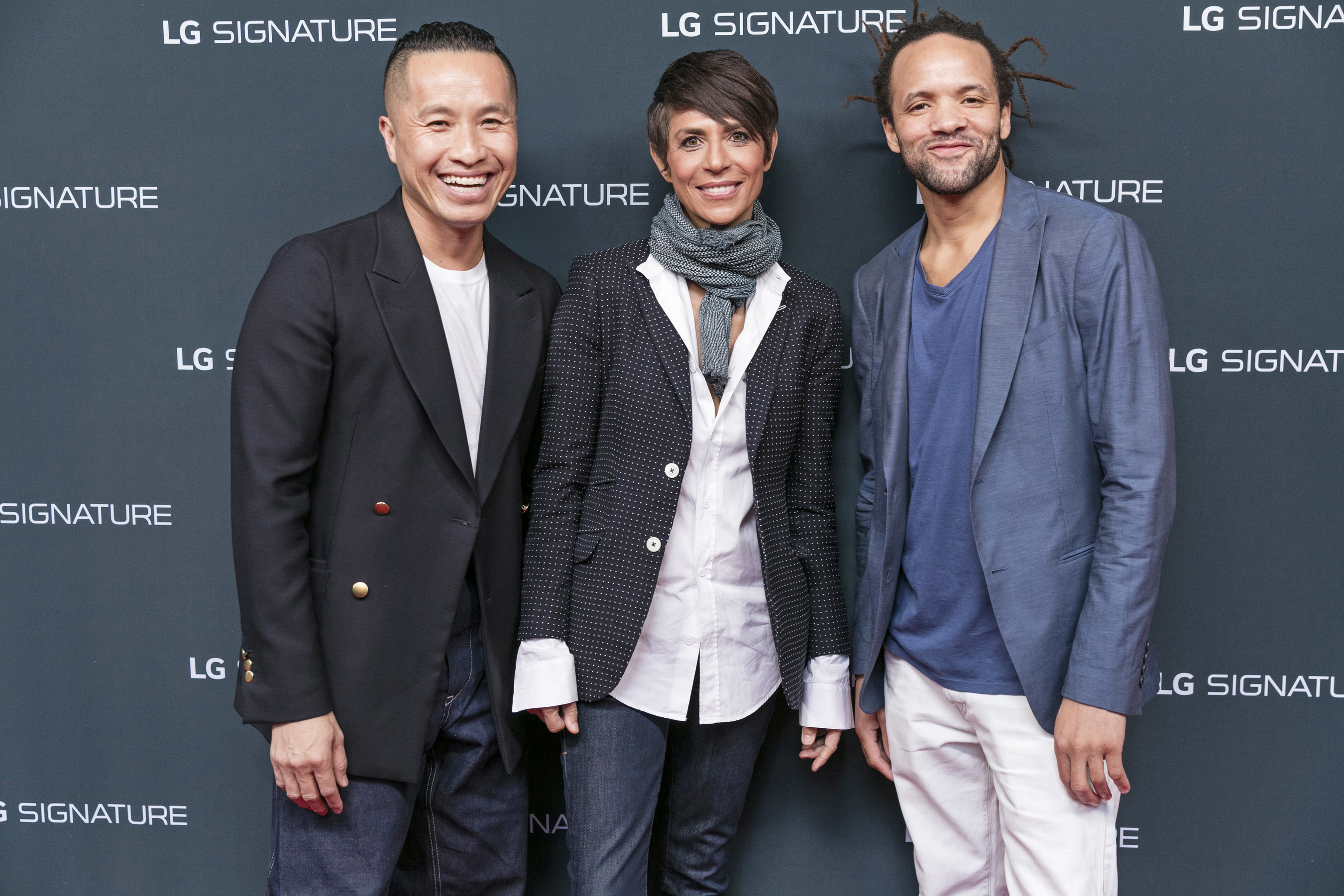 Phillip Lim, Dominique Crenn and Savion Glover attend the launch of LG SIGNATURE at the LG SIGNATURE Gallery unveiling