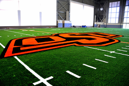 Oklahoma State's indoor AstroTurf field at Sherman E. Smith Training Center (Summer, 2013).  ...