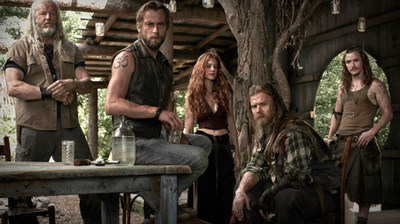 "(L-R) David Morse as Big Foster, Joe Anderson as Asa, Gillian Alexy as G'Winveer, Ryan Hurst as Lil Foster and Kyle Gallner as Hasil in WGN America's ""Outsiders."""