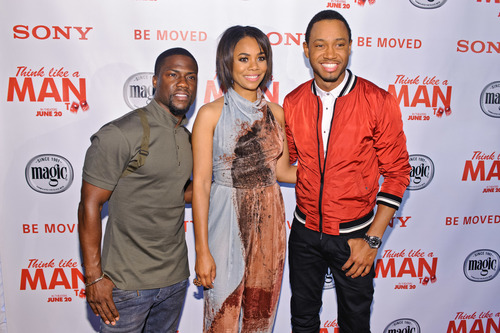 Kevin Hart, Regina Hall and Terrence J attend a screening of 'Think Like A Man Too' sponsored by Magic ...