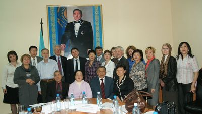 Inaugural meeting of Kazakhstan's NITAG - Middle, back row: Dr. Bekshin Jandarbek Mukhtarovich, committee chair; back row, second from the left: Dr. Imangalieva, scientific secretariat; front row, far right: Dr. Kuatbaeva, scientific secretariat.