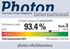 ET Solar Module Maintains High Performance Ratio in PHOTON Test. (PRNewsFoto/ET Solar Group Corp. )