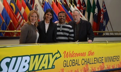 Global Challenge Winners Visit SUBWAY(R) World Headquarters (PRNewsFoto/SUBWAY(R) restaurants) (PRNewsFoto/SUBWAY(R) restaurants)