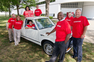 Nissan's first U.S.-based manufacturing facility has been building quality vehicles and long-lasting careers in Tennessee for more than three decades.  Pictured clockwise from inside the truck are Nissan Smyrna employees with 30 years of service: Kathy Kyle, Shirley Greene, Mark Redfern, Angela Price, Kevin Fongnaly, Mark Pionke, Greg Sells, and Melvin Norwood.  (PRNewsFoto/Nissan)
