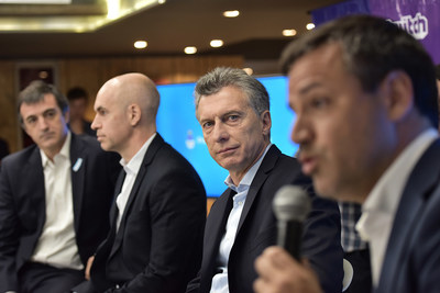 (L-R)Minister for Education and Sports, Esteban Bullrich; the Head of Government of Buenos Aires City, Horacio Larreta, President of the Argentine Nation, Eng. Mauricio Macri and CEO at IMS, Gaston Taratuta.