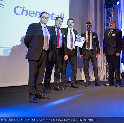 "The Chemetall representatives are proud to receive the ""accredited supplier"" award as part of the Airbus SQIP program. Present at the awards ceremony were Ronald Hendriks, Quality Manager EMEA, Airbus SQIP Coordinator; Hendrik Becker, Global Segment Manager Aerospace; Christoph Hantschel, Global Product Manager Aircraft Sealants. (c) Airbus S.A.S, Mit freundlicher Genehmigung von Airbus"