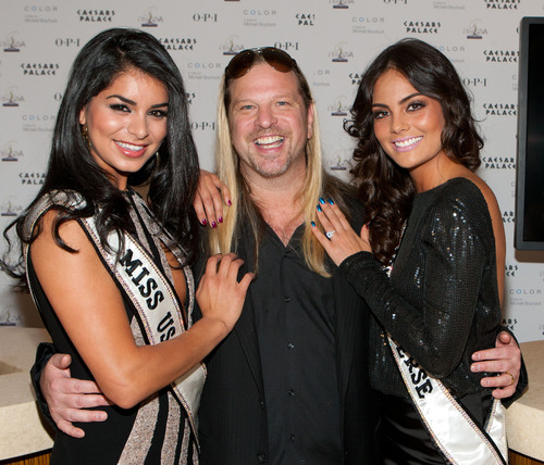 Las Vegas -- Reigning Miss USA Rima Fakih, stylist Michael Boychuck and reigning Miss Universe Ximena Navarrete unveil four new limited edition nail lacquers for Miss Universe by OPI. Image by Erik Kabik/RETNA.  (PRNewsFoto/OPI Products Inc.)
