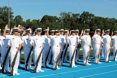 237 Plebes join the Regiment of Midshipmen and U.S. Navy Reserve at the U.S. Merchant Marine Academy today.  (PRNewsFoto/U.S. Merchant Marine Academy)