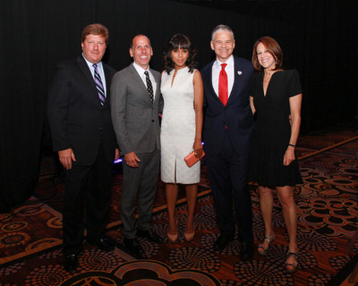 From left to right:  Alan Chinich, President, Movado; Peter Engel, Board Chairman, Jewelers for Children; Kerry Washington; Efraim Grinberg, Chairman & CEO, Movado Group, Inc.; Ellen Grinberg.  (PRNewsFoto/Movado Group, Inc.)