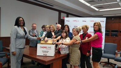 Pictured, left to right, are: Lauren Love-Wright, Verizon Region President; Steve Riggs, Fayette Circuit Court Clerk; Sherry Currens, Executive Director, Kentucky Coalition Against Domestic Violence; Carol Jordan, Executive Director, University of Kentucky Office for Policy Studies on Violence Against Women; Dr. Jay Box, President, Kentucky Community and Technical College System; Susan West, Dean, University of Kentucky Fraternities and Sororities; Angelica Maldonado, Fayette County Circuit Court domestic violence specialist; Jennifer Scrutchfield, Lexington Council member; Kathy Witt, Fayette County Sheriff; Darlene Thomas, Executive Director, Greenhouse17 domestic violence agency