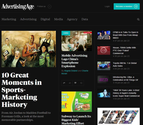 Ad Age's Homepage Surfaces More Content. (PRNewsFoto/Advertising Age) (PRNewsFoto/ADVERTISING AGE)