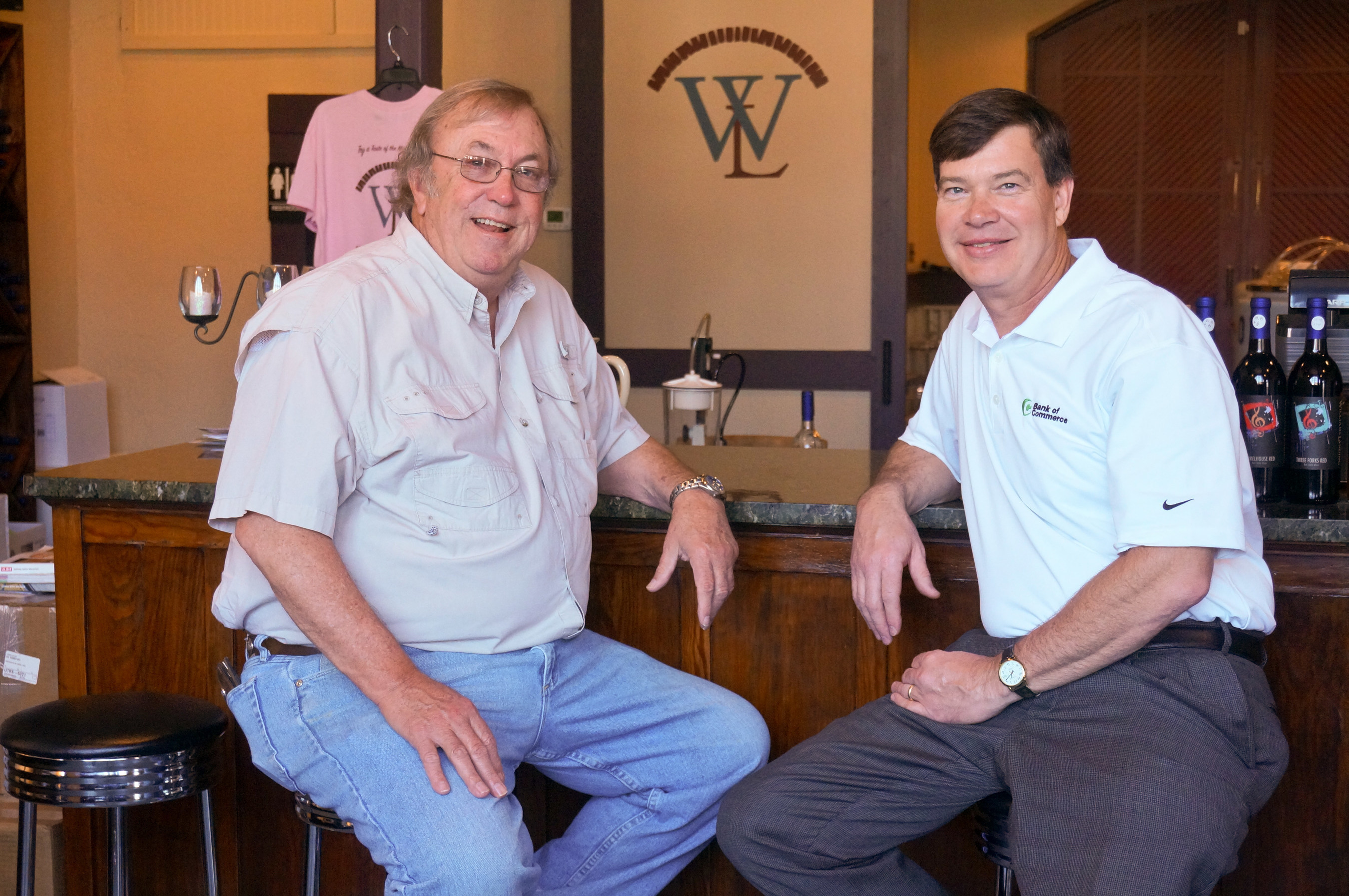 Lonnie Bailey, owner of The Winery at Williams Landing, with Bank of Commerce EVP Jeff Crick.