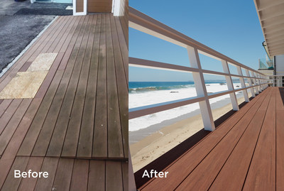 Failing non-wood decking on this Malibu beachfront property was replaced after eight years with technologically advanced and high performance AZEK decking to better withstand the harsh elements.