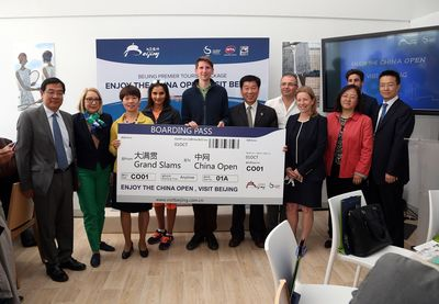 "(From the left to the right) Presentation of the package ""Enjoy the China Open, Visit Beijing"" with M. Shaoping Li - Cultural Counselor at China Embassy in Paris, Ms. Patricia Barthelemy - Leisure Marketing Manager at Paris Convention & Visitors Bureau, Ms. Wu Peihua - Chairman of China Tennis Open l'Open, Ms. Sania Mirza - professional tennis player double ranking n°1 player, M. Timo Von Domarus - winner of the digital contest, M. Zhao Guang-Chao - Vice-Chairman of Beijing Municipal Commission of Tourism Development, M. Nicola Arzani, Senior Vice President of PR & Marketing at ATP, Ms. Heather Bowler, Senior Vice President of Communications at WTA, Ms. Guifeng Xue, Director of the Office of China National Tourism Administration in Paris, M. Lucas Dubourg, International Development Manager at FFT, M. Chuan Lu, Officer at Beijing Municipal Commission of Tourism Development (PRNewsFoto/China Open)"
